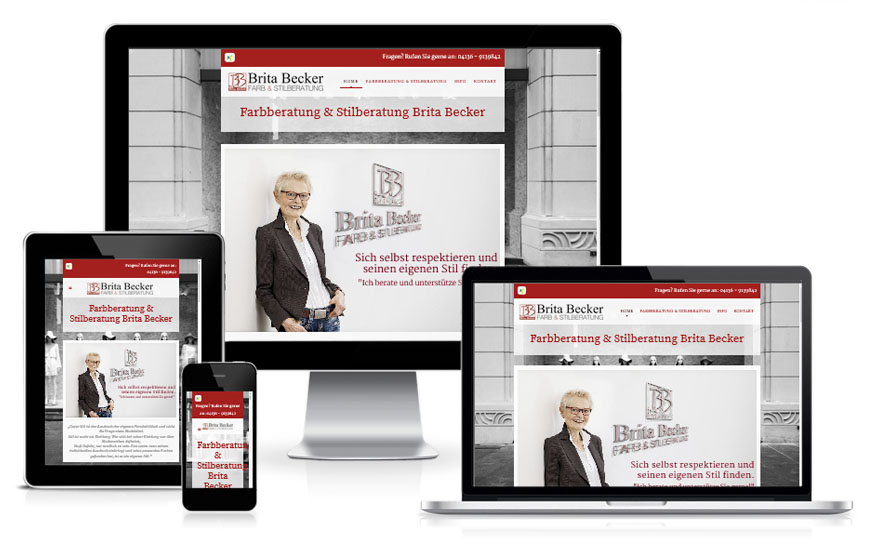 Internetseite von der Farbberatung Stilberatung Brita Becker - Webdesign by DiBaDi - WebCreator, Fotograf Druck in Winsen, Lüneburg, Harburg und Hamburg, Agentur