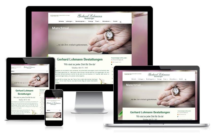 Internetseite für Gehard Lohmann Bestattungen